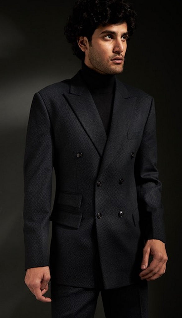 Grey Black Textured Wool Suit