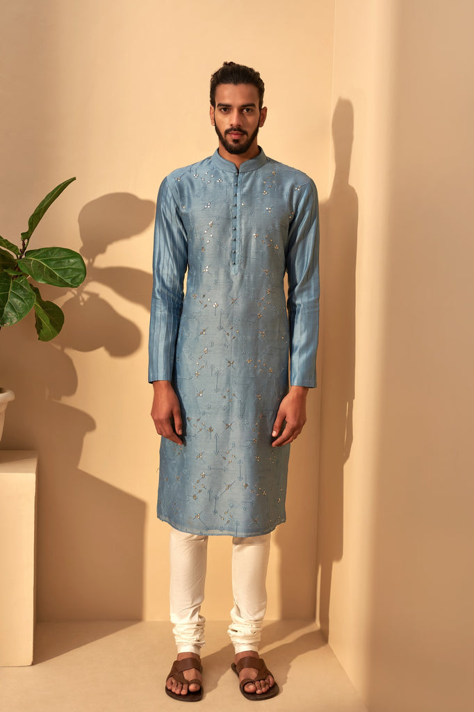 MINERAL BLUE EMBROIDERED CHANDERI KURTA SET