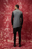 Grey & black panelled assymetric nehru jacket set