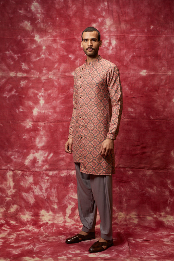 Grey & black printed assymetric kurta