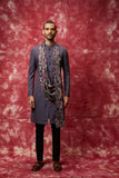 Grey front open draped indo kurta set