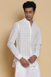 Ivory Calligraphy Embroidered Cotton Shirt