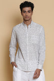 Ivory Calligraphy Embroidered Regular-Fit Cotton Shirt
