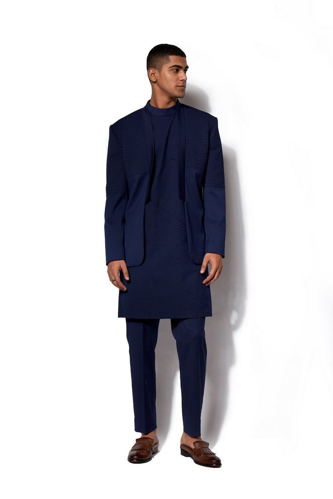 Navy Asymmetric Bandhgala With Kurta Set