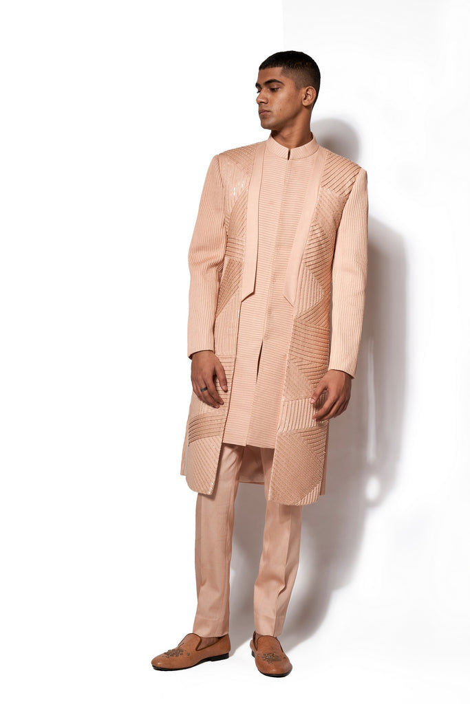 Peach Asymmetrical Long Jacket Set