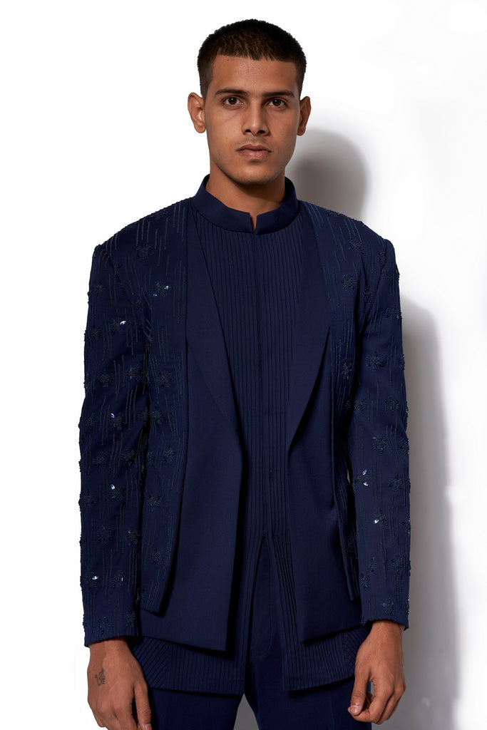 Navy Embroidered Layered Bandhgala