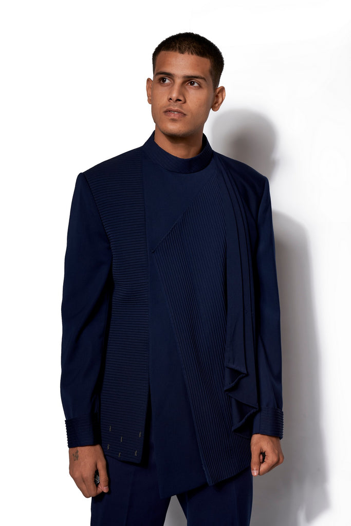 Navy Asymmetric Bandhgala With Attached Drape Set