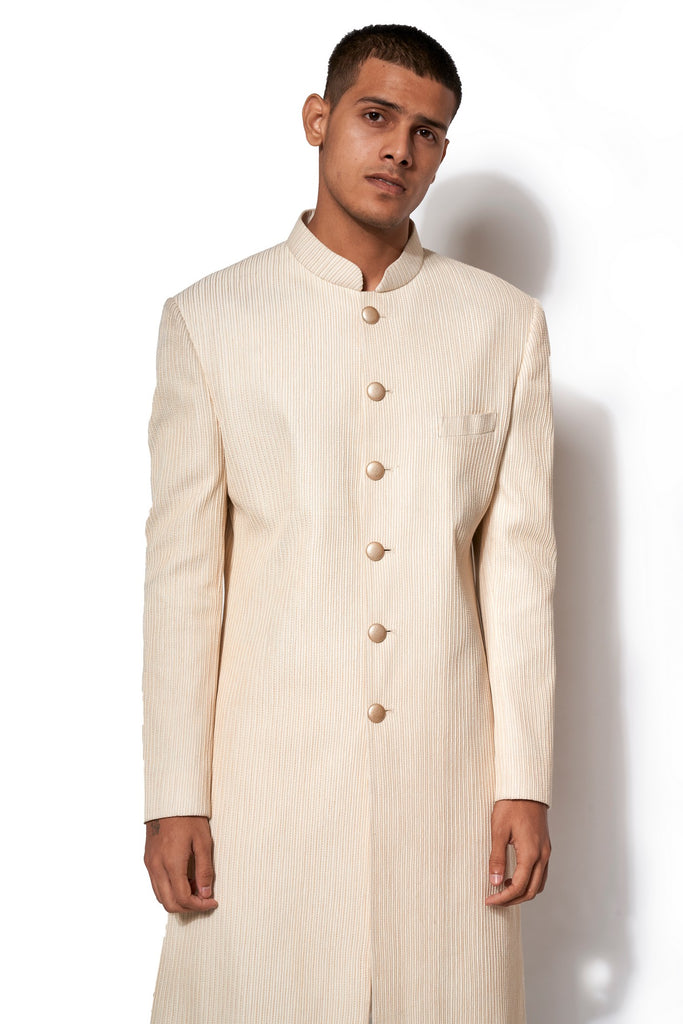 Ivory Signature Textured Long Jacket Set