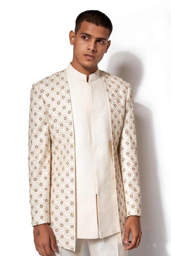 Ivory Embroidered Layered Bandhgala