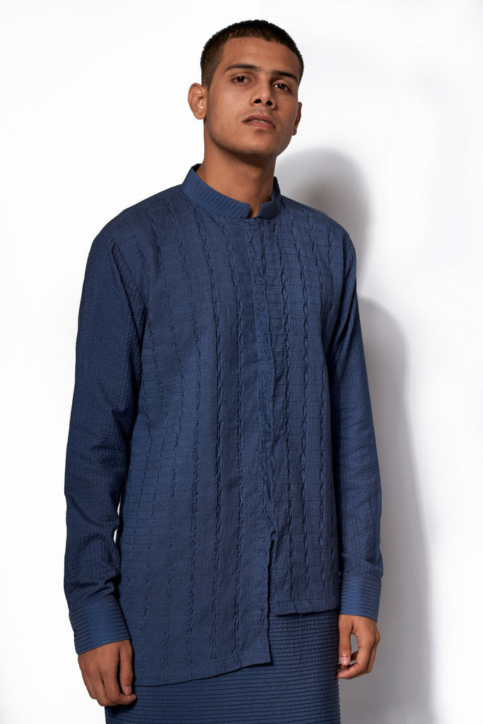 Denim Blue Asymmetrical Textured Kurta Set