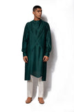 Forest Green Asymmetrical Kurta Set