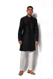 Black Short Textured Kurta Set