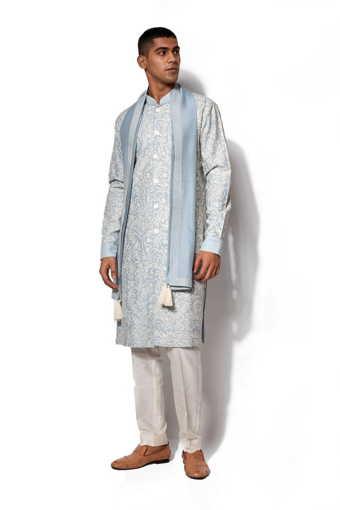 Ice Blue Front Open Embroidered Kurta Set