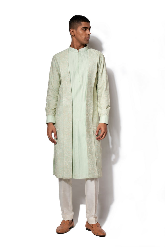 Pista Green Asymmetrical Embroidered Kurta Set
