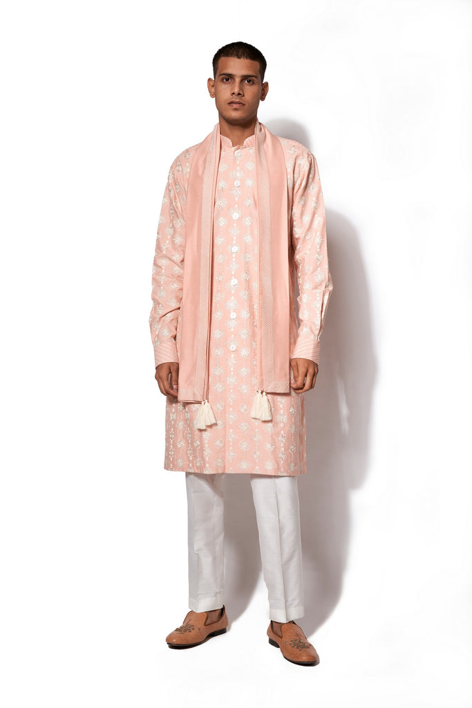 Pink Front Open Embroidered Kurta Set