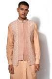 Peach Embroidered Bandi Kurta set