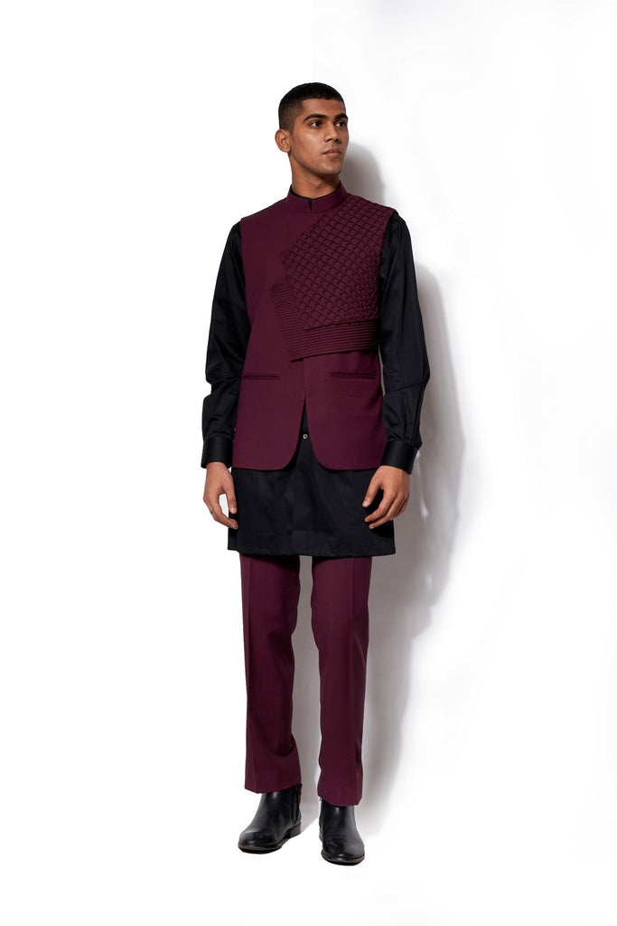 Wine Asymmetric Nehru Jacket Set