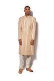 Beige Hand Embroidered Sherwani Set