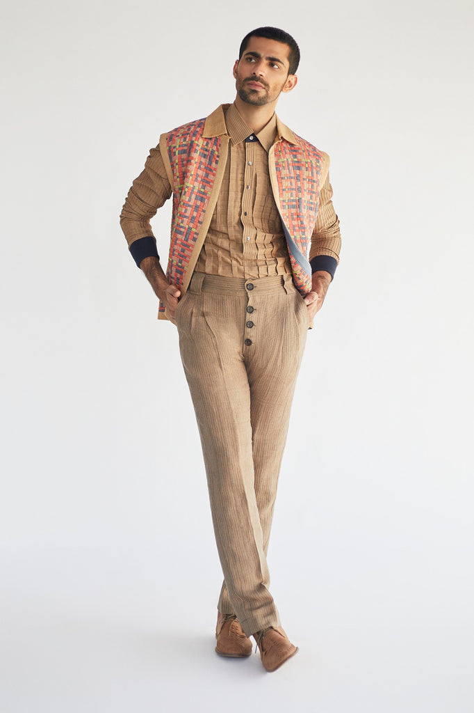Jacket with short shirt kurta and trouser