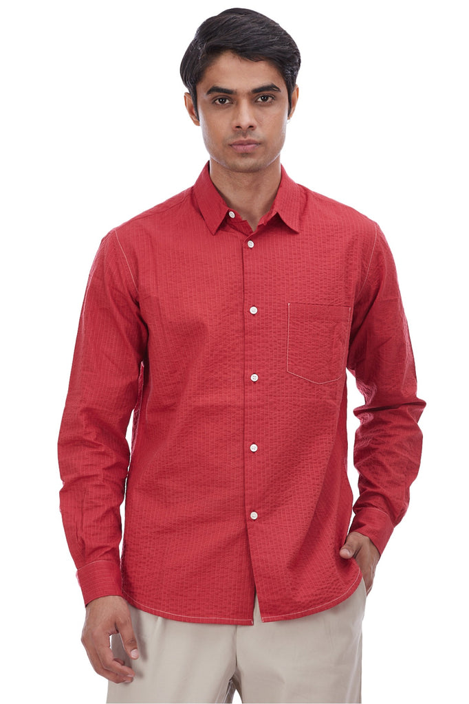Madder Embroidered Pinstripes Cotton Shirt