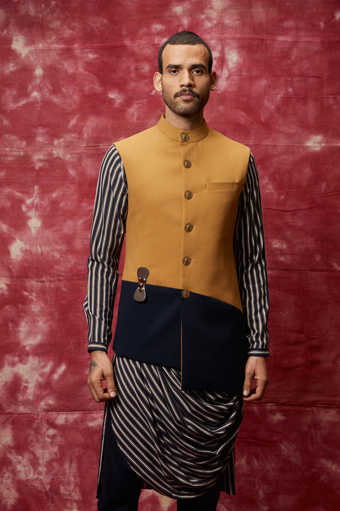 Mustard & navy panelled assymetric nehru jacket set