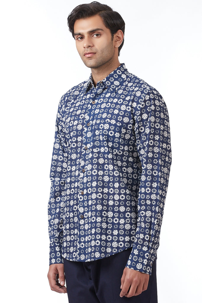 Navy Hand-Printed Coromandel Regular-Fit Shirt