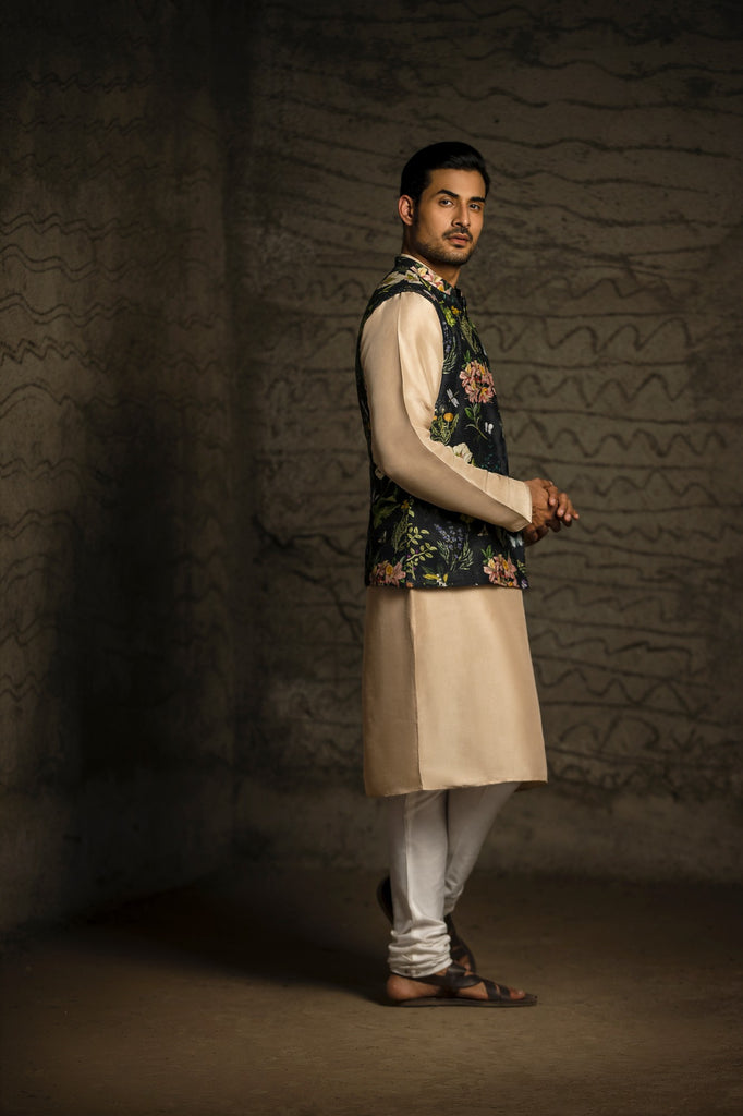 Black Titli print dupion silk bandi and kurta Set