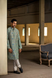 Mint Geometric Lotus print silk kurta Set