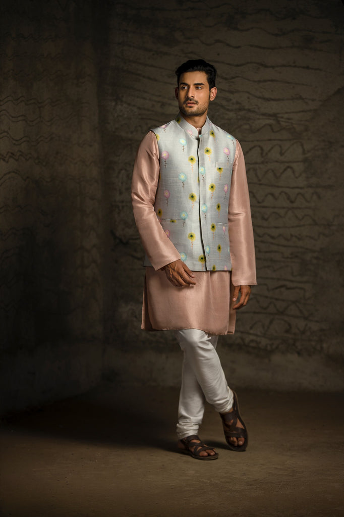 Grey Meadow print dupion silk bandi and Kurta Set