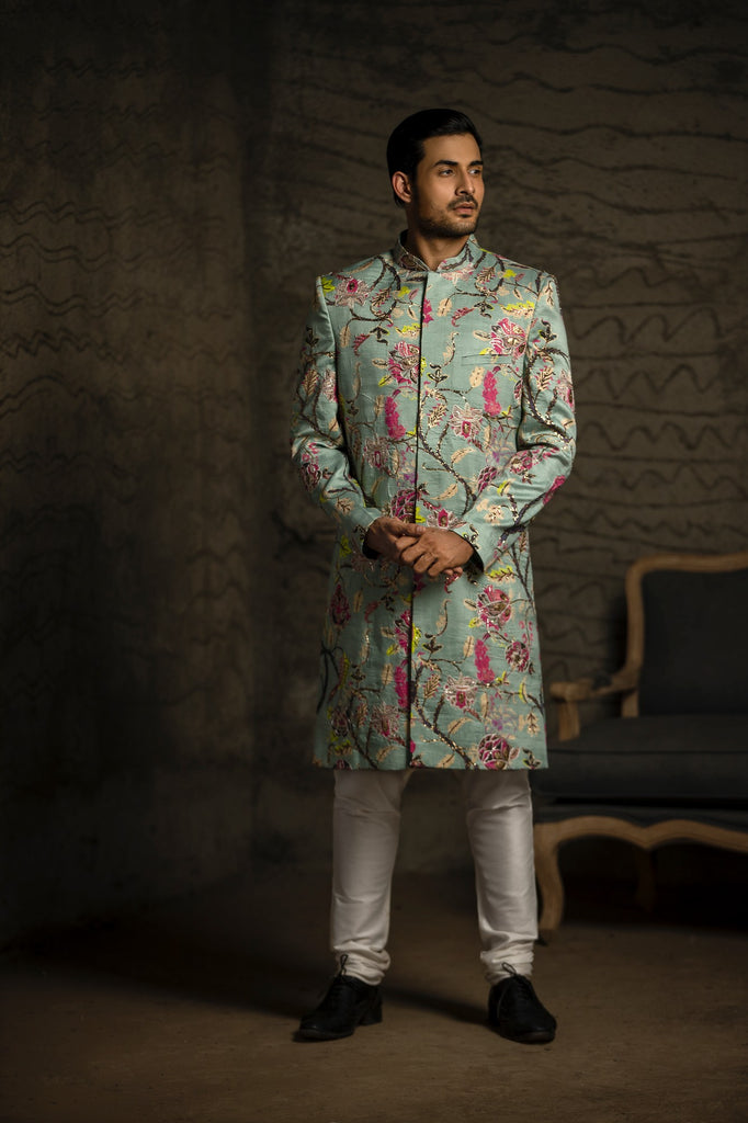 Aqua Chintz print embroidered dupion silk sherwani Set