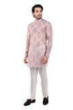 Pink Grey Chaneri Cotton Silk Kurta