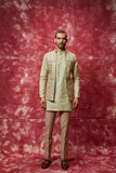 Pista green embroidered front open nehru jacket set