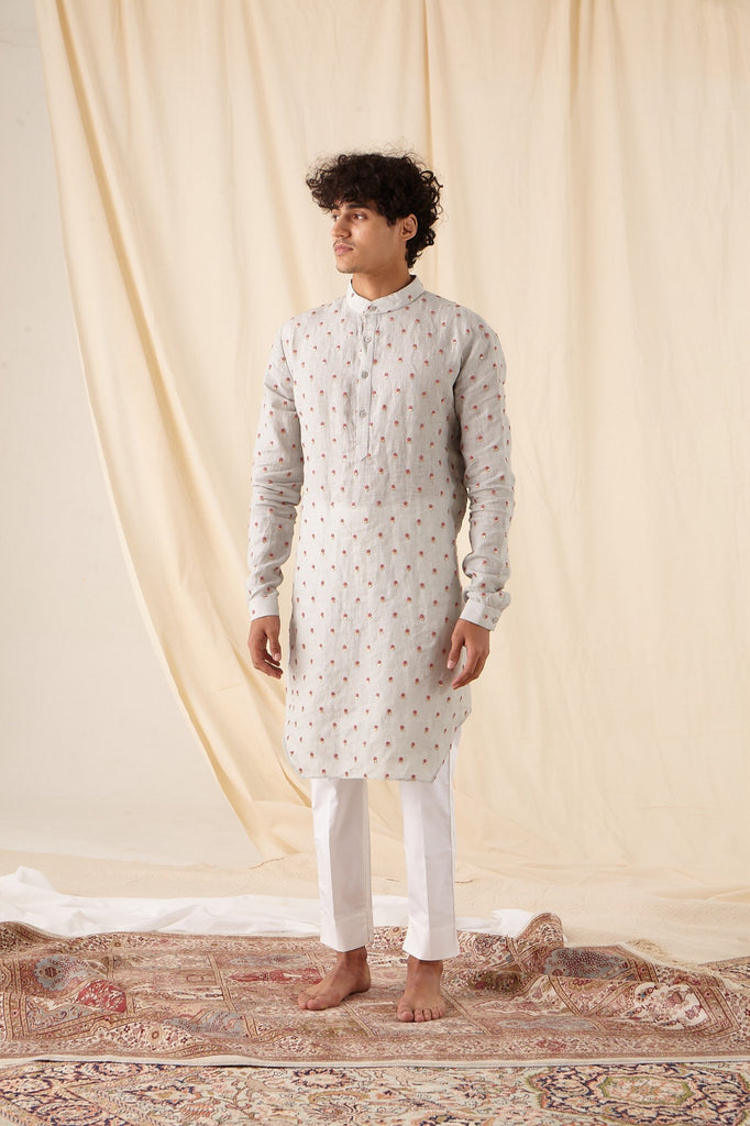 The Easy Breezy Linen Kurta Pajama Set in Sterling Blue