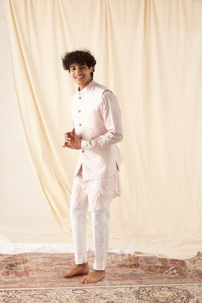 The Mother of Pearl Kurta Pajama set with matching Bandi
