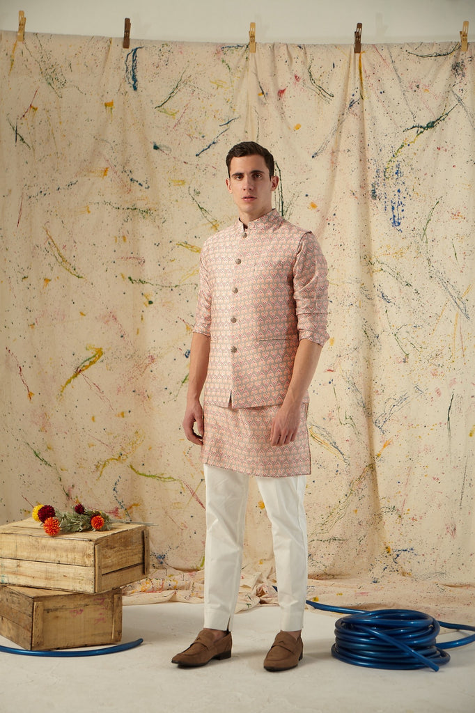 The Silver Sage Cotton Kurta Pajama Set with matching Bandi
