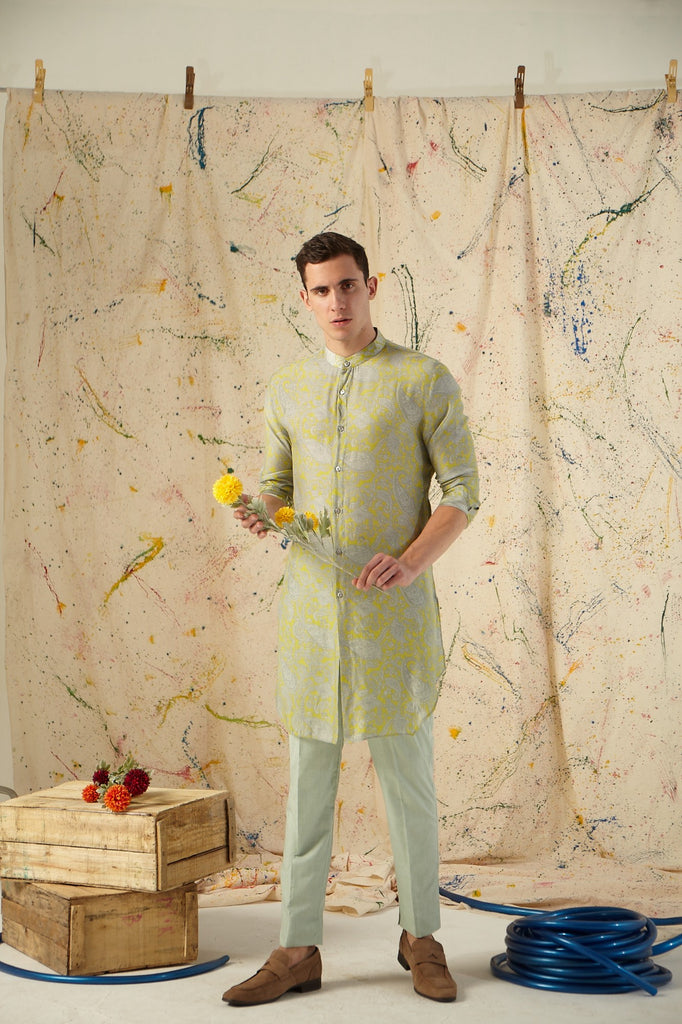 The Lime Power Paisley Cotton-Silk Kurta Pajama Set