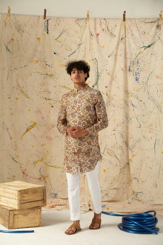 The Zen Garden Silk Kurta Pajama Set with matching Bandi