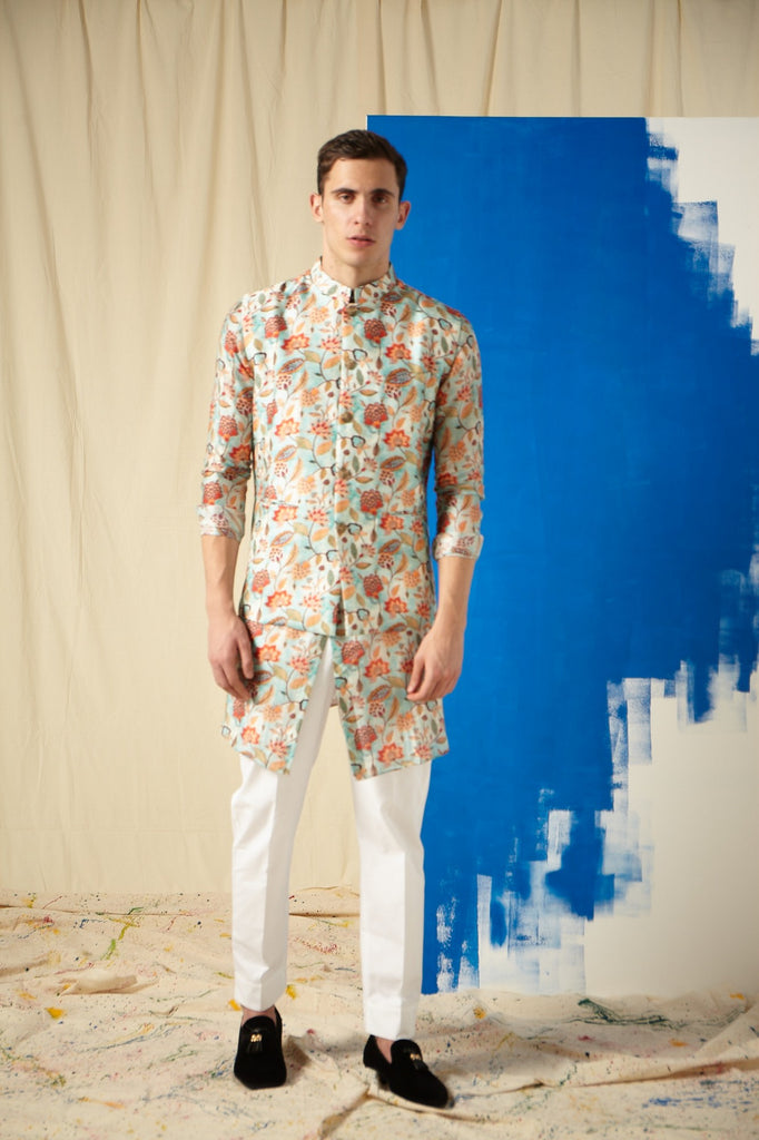 The Carribean Cotton Kurta Pajama Set with matching Bandi