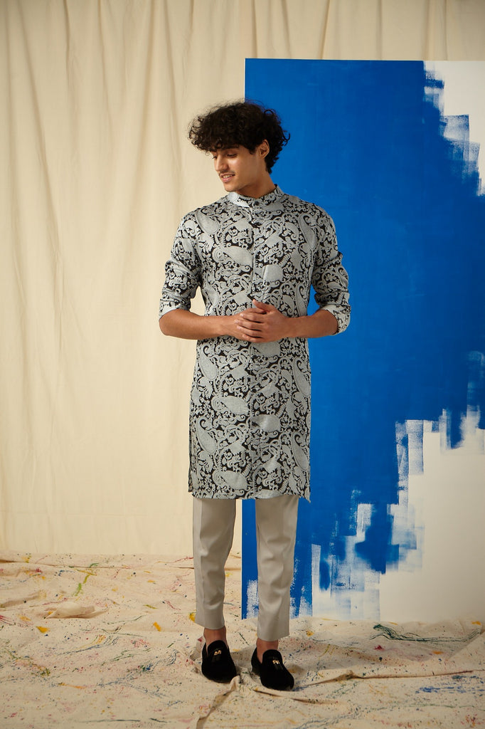 The Grey Power Paisley Cotton-Silk Kurta with Grey Pajama Set