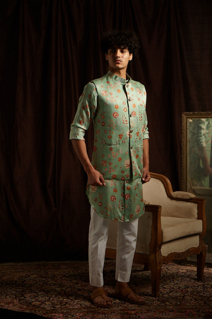 The Secret Garden Cotton-Silk Kurta Pajama Set with matching Bandi
