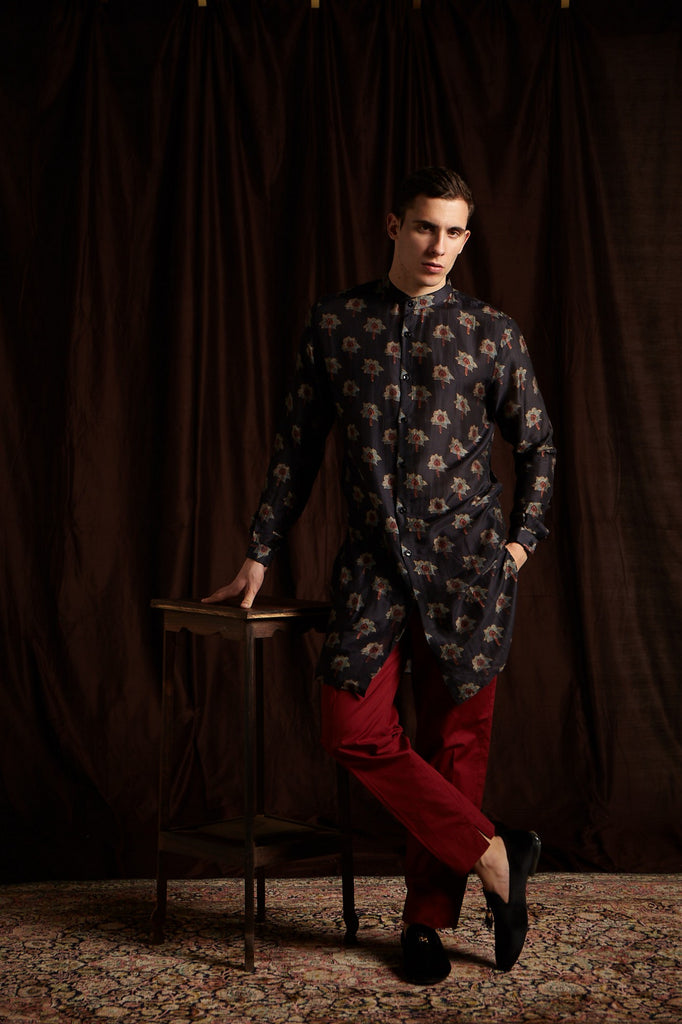 The Kamal Cotton Kurta with Berry Pajama set