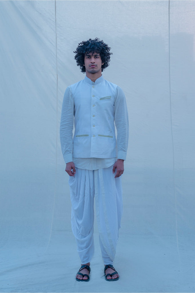 Raw Silk Off White Waist Coat