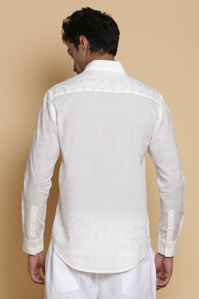 White Calligraphy Embroidered Cotton Shirt