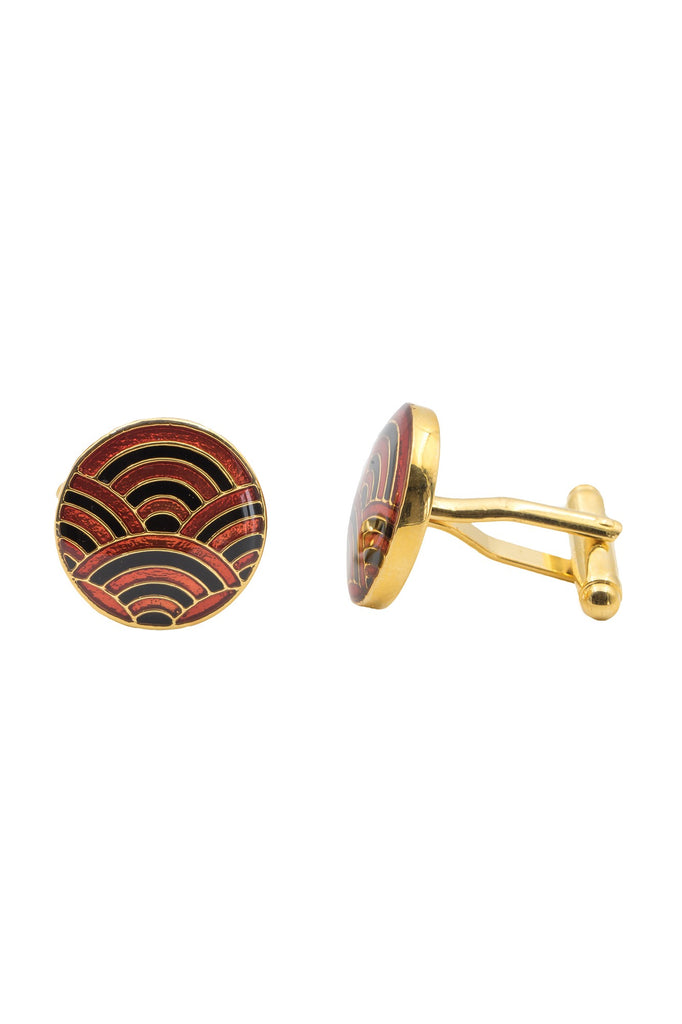 Cascade Cufflinks - Black and Maroon