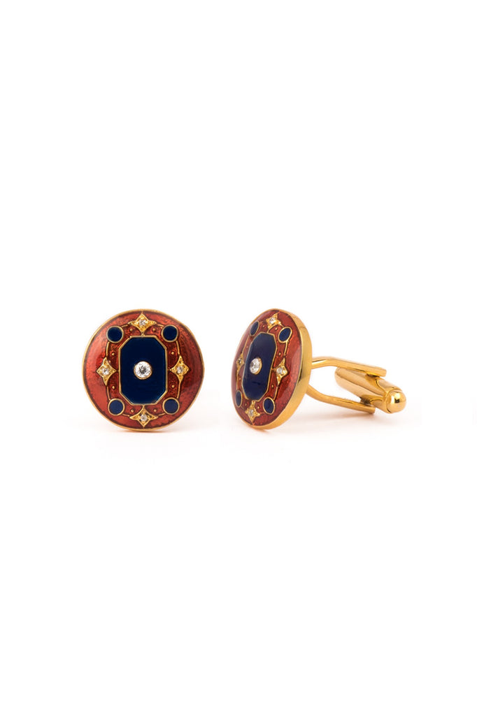 The Myron Cufflinks - Blue and Maroon