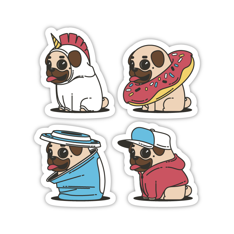 Four Pugs Costumes