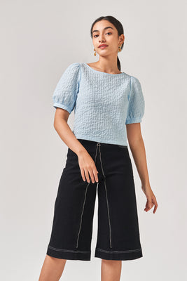 Nina Textured Blouse in Blue