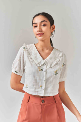 Olive Collared Blouse with Embroidery