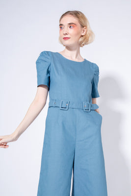 *Sales* Catalina Belted Midi Jumpsuit in Blue