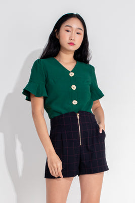 Presley Trumpet Sleeves Buttoned Blouse in Green